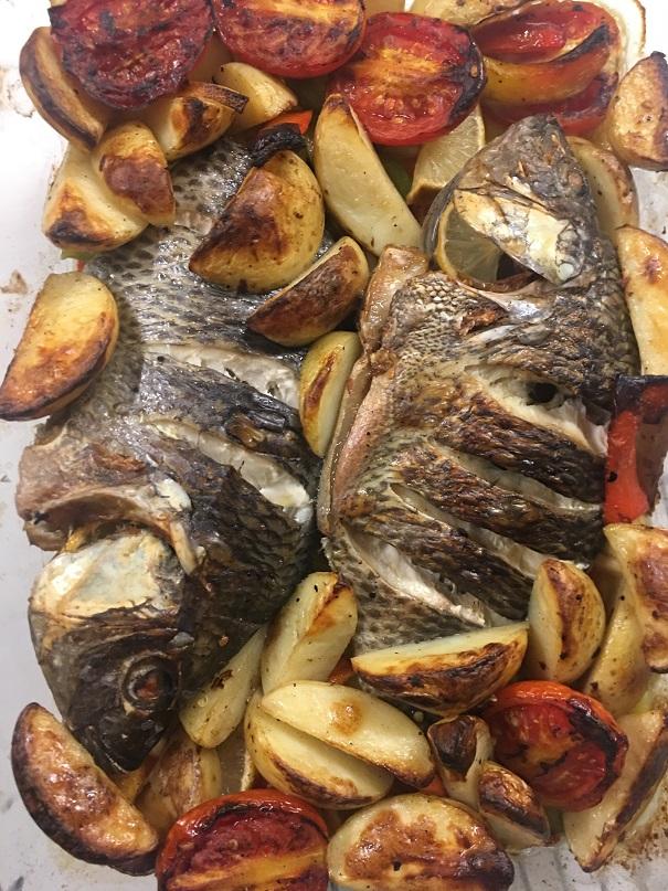 דג עם ירקותבתנור
